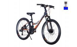Велосипед 24' HARTMAN Rowdy PRO Disk р.13', 18 ск., рама алюм , голубой оранжевый матовый