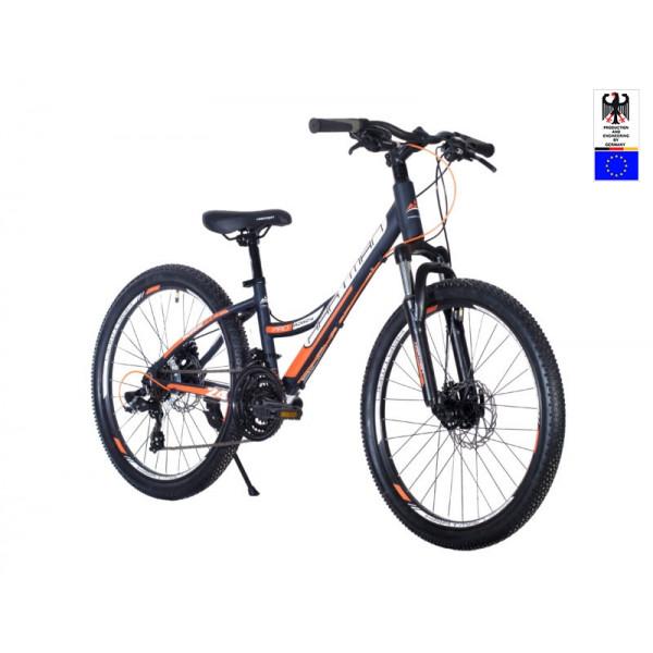 Подростковый велосипед 24' hartman rowdy pro disk р.13', 18 ск., рама алюм , голубой оранжевый матовый
