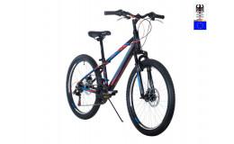 Велосипед 24' HARTMAN Lucky  Disk р.13', 18 ск., рама алюм , чёрный синий красный неон матовый