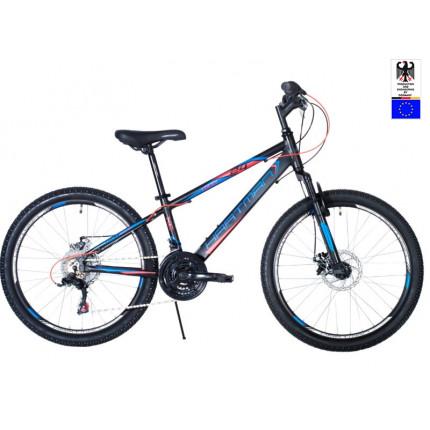Подростковый велосипед 24' hartman lucky  disk р.13', 18 ск., рама алюм , чёрный синий красный неон матовый