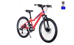 Велосипед 24' HARTMAN Shadow PRO Disk р.13', 18 ск., рама алюм , красный неон синий матовый