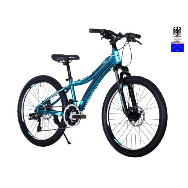 Подростковый велосипед 24' hartman blaze pro disk р.13', 18 ск., рама алюм , зелёный неон чёрный синий матовый