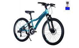 Велосипед 24' HARTMAN Blaze PRO Disk р.13', 18 ск., рама алюм , чёрный жёлтый синий матовый