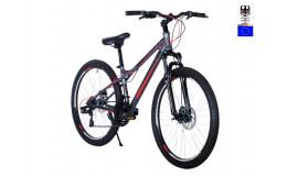 Велосипед 26' HARTMAN Black stone Pro disk р.14' 21 скр.сталь.графит чёрный красный матовый