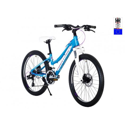 Подростковый велосипед 24' hartman diora pro disk р.13', 18 ск., рама алюм , сиреневый голубой матовый