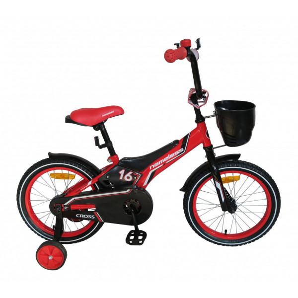 Детский детский велосипед 16 nameless cross (красно-черный)