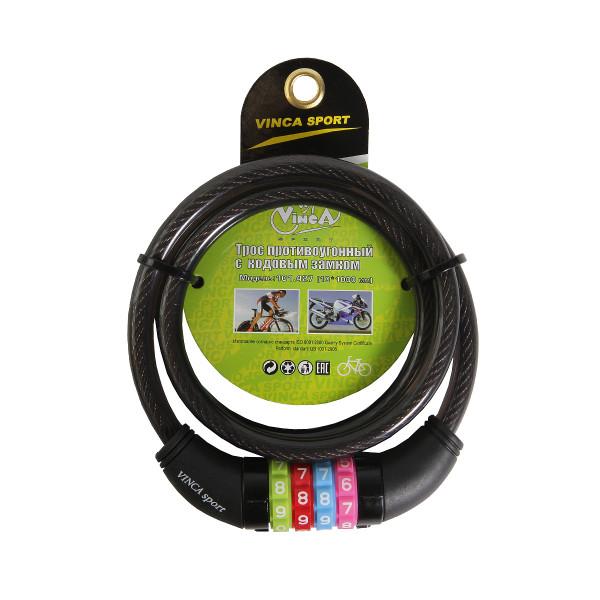 Велозамок кодовый 10*1000мм арт.VS 101.427 чёрный