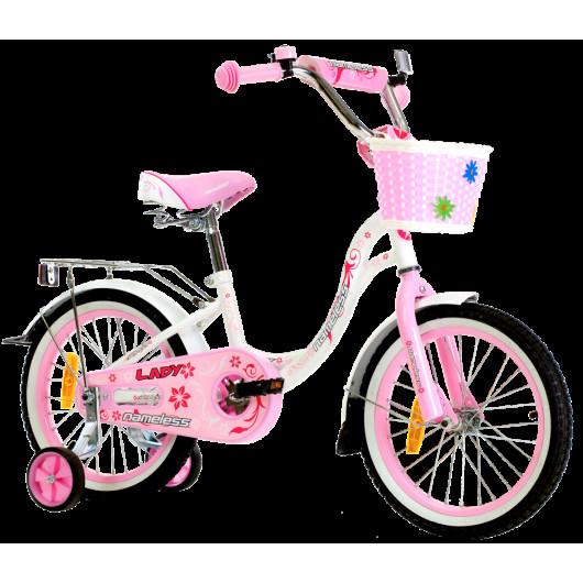 Детский велосипед 18' nameless lady белый /розовый