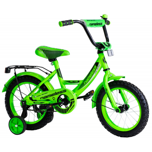 Детский велосипед 12' nameless vector, зелёный/черный